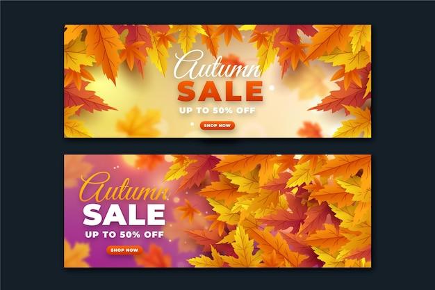 Set di banner di vendita autunnale orizzontali realistici