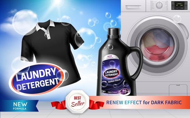 Реалистичная горизонтальная реклама стирального порошка