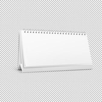 白い背景の上に現実的な水平立っている空白スパイラルテーブルカレンダー。 。