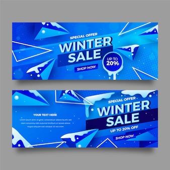 Realistic horizontal winter sale banners set