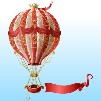 Realistic hot air balloon with vintage decor, crown, flying on blue sky with blank red ribbon