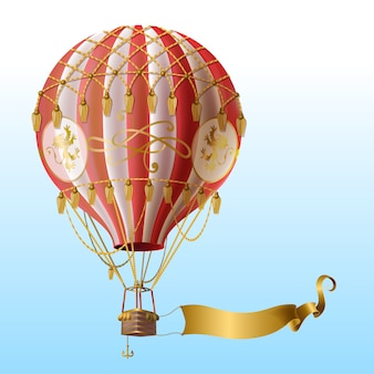 Realistic hot air balloon with vintage decor, flying on blue sky with blank golden ribbon