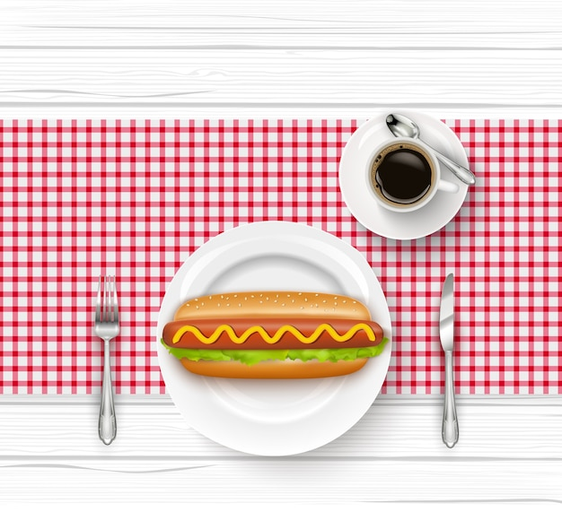 Realistic hot dog on plate with fork