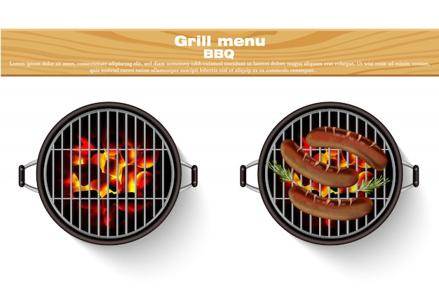 Realistic hot fire bbq grilled sausages