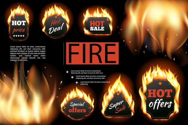Realistic hot fire labels composition