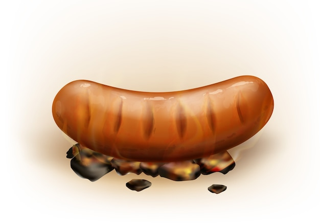 Realistic hot juicy grilled sausage roasted on coals, isolated on white background. pork or beef bratwurst cooked on smoldering charcoal.