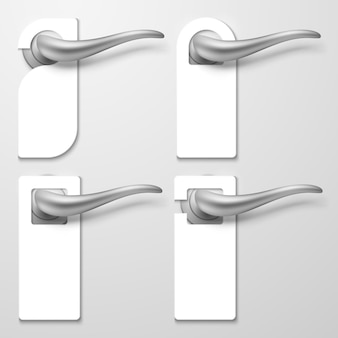 Realistic hotel door handles with white blank plastic hangers illustration