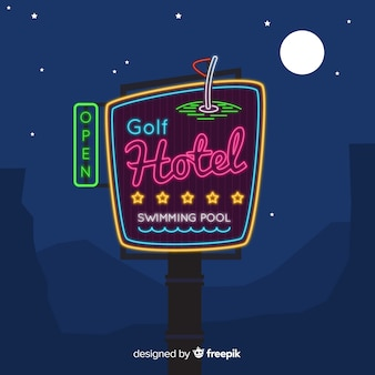 Realistic hotel neon sign background