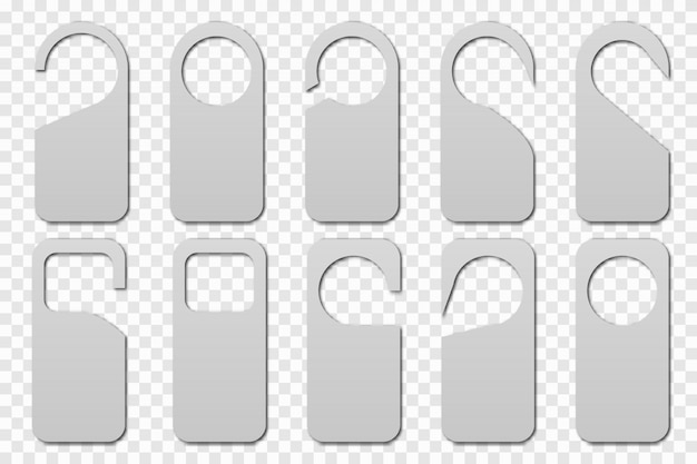 Реалистичные номер в отеле вешалки значок. чистые дверные вешалки теги для номера в отеле, хостеле, курорте, доме.