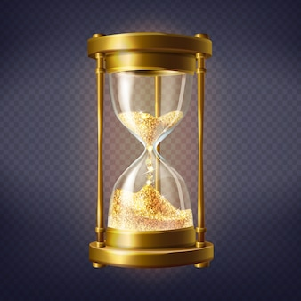 Realistic hourglass, antique clock with golden sand inside