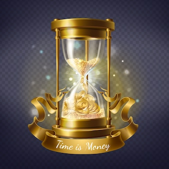 Realistic hourglass, antique timer with sand inside to measure hours and minutes