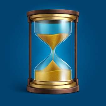 Realistic hourglass, sand clock timer