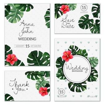 Realistic house plant wedding cards