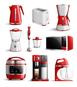 Realistic household kitchen appliances set
