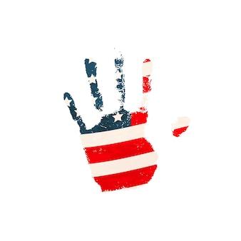 白で隔離の米国旗と現実的な人間の手のひらプリント