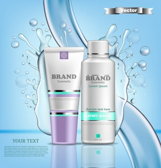 Realistic hydration water cosmetic packaging mock up