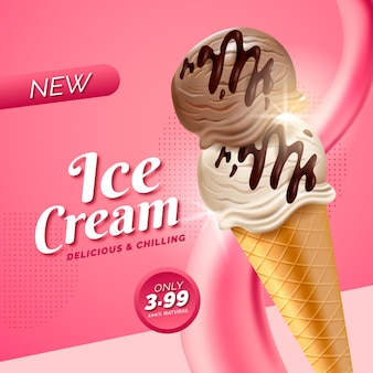 Realistic ice cream ad