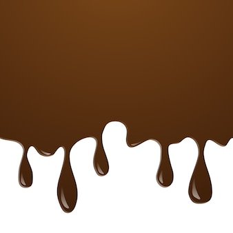 Realistic of ice cream chocolate splash and melt flowing and dripping on white background.