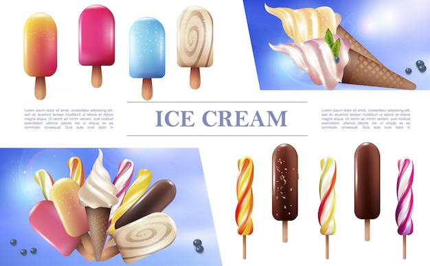 Realistic ice cream composition with popsicles lollipops different sorts of icecream on stick and in waffle cones