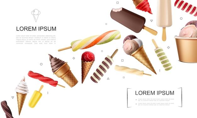 Realistico concetto di gelato con lecca-lecca caramelle frutta gelati coppa gelato ghiacciolo caramello cioccolato palline di latte nel cono di cialda
