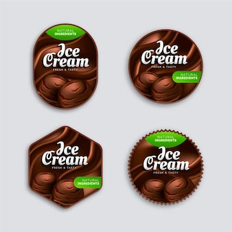 Realistic ice cream label collection