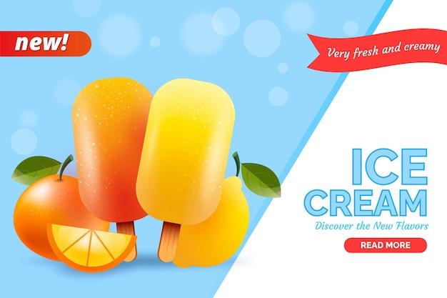 Реалистичный промо-шаблон мороженого