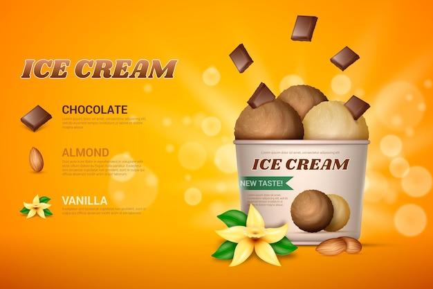 Modello promozionale gelato realistico
