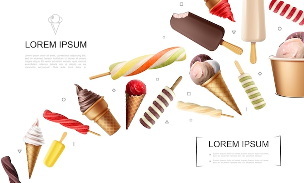 Realistic ice cream with candies