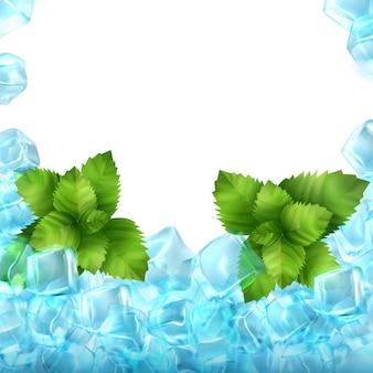 Реалистичные кубики льда и мята
