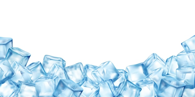 Realistic ice cubes blocks background with copy-space surrounded by bunch of colourful ice cube images