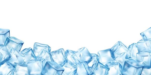 Реалистичные кубики льда блокируют фон с копией пространства, окруженного кучей красочных изображений кубиков льда