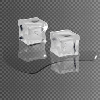 Реалистичные кубики льда на прозрачном фоне, таяние в воде.