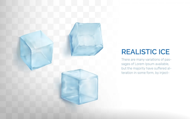 Realistic ice cubes set.