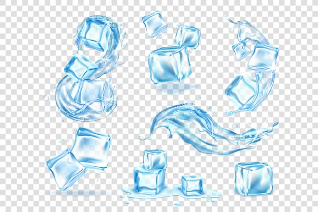 Realistic ice cubes, water splashing set collection
