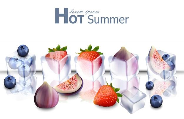 Реалистичные кубики льда с фруктами