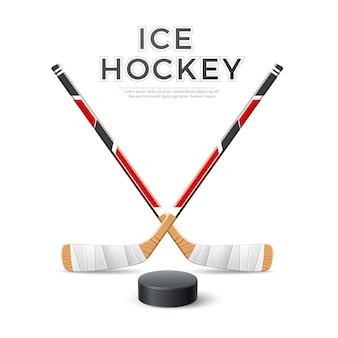 Realistic ice hockey crossed sticks with puck hockey emblem vector
