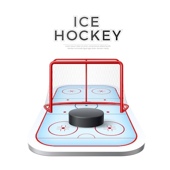 Realistic ice hockey playground arena with goal and puck