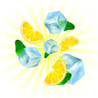 現実的な氷、レモン、ミント。
