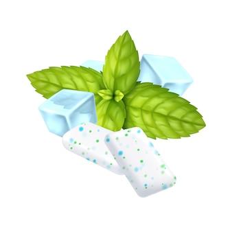 Реалистичные ледяные подушечки жевательной резинки перечной мяты на белом