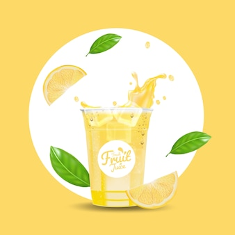Realistic iced lemon juice drink cup