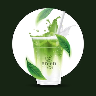 Realistic iced matcha green tea drink cup