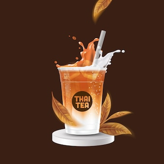 Реалистичная чашка тайского чая со льдом Premium векторы