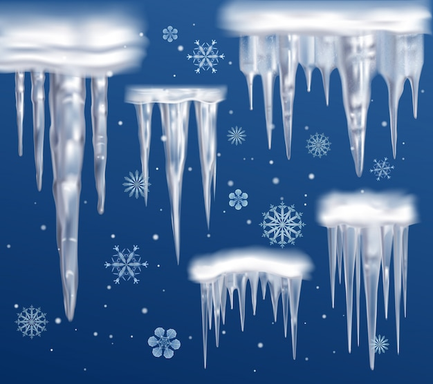 Realistic icicles blue background set
