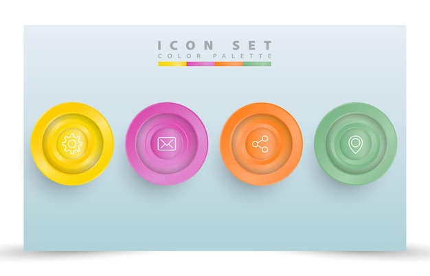 Realistic icon set template style