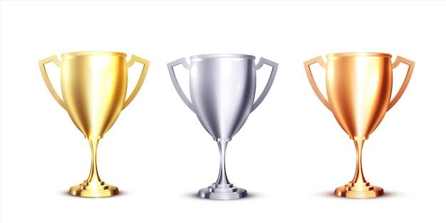 白地にゴールド、シルバー、ブロンズのトロフィーとリアルなアイコン。リアルな3dデザイン。チャンピオンシップトロフィー。スポーツアワードセット。