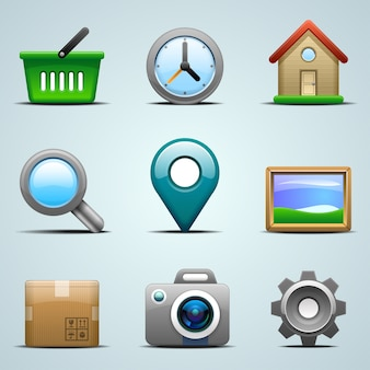 Realistic  icons for mobile apps or web