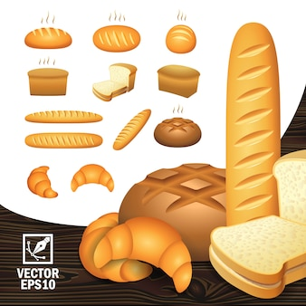 Realistic icons set bakery products from different angles (bread, sliced bread, a loaf, a bagel)