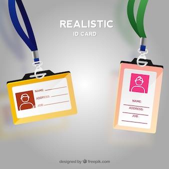 걸쇠와 끈이있는 현실적인 id 카드