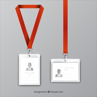 Realistic id card with clasp and lanyards
