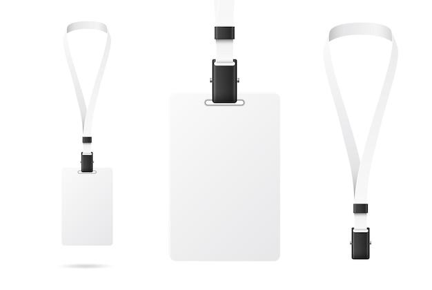 リアルな識別バッジ空白の白いidカードidデザイン